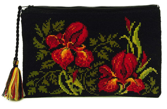 Irises Cosmetic Bag/Purse, Counted Cross Stitch Kit, Riolis R1679AC