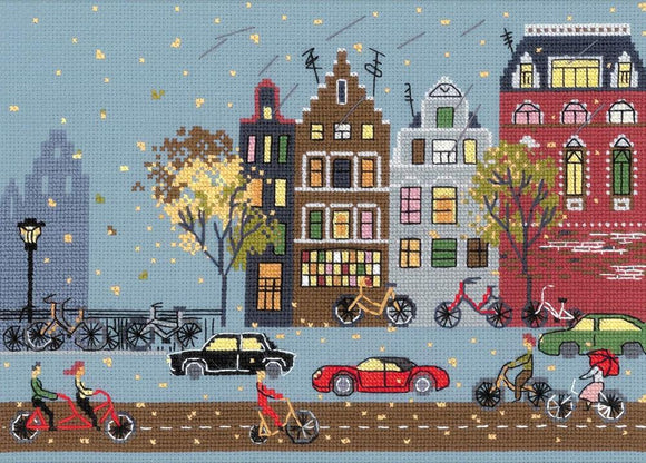 Cross Stitch Kit Cycle Lane, Counted Cross Stitch Kit Riolis R1490
