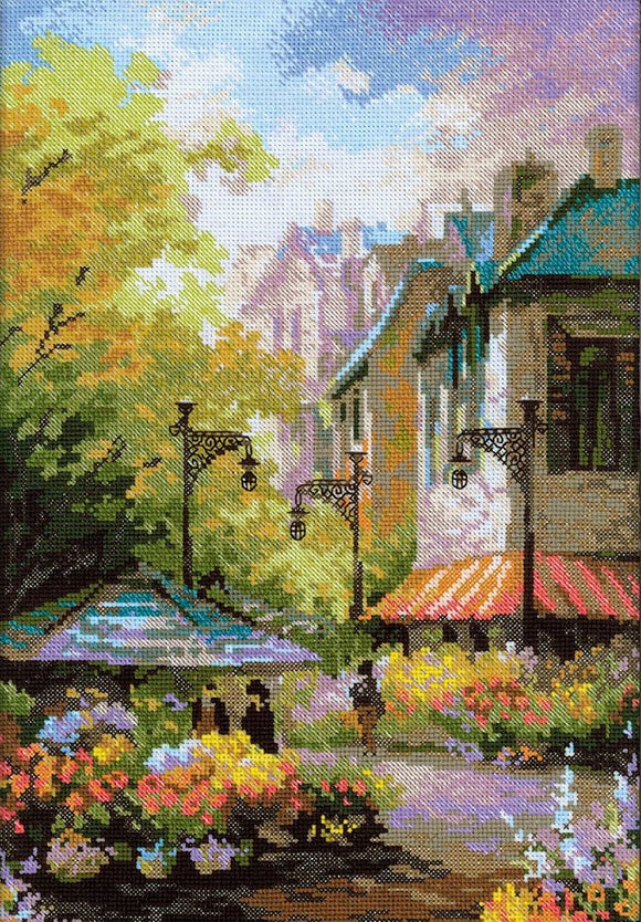 Cross Stitch Kit Flower Street, Counted Cross Stitch Kit Riolis R1306