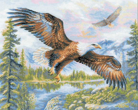 Cross Stitch Kit Free Fall, Eagle Counted Cross Stitch Kit Riolis R1471