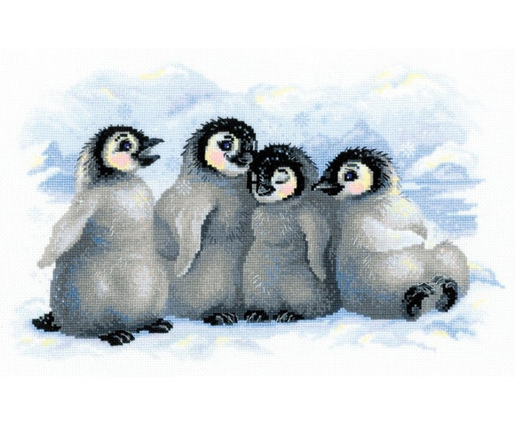 Cross Stitch Kit Funny Penguins, Counted Cross Stitch Kit Riolis R1323