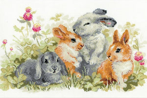 Cross Stitch Kit Funny Rabbits, Counted Cross Stitch Riolis R1416