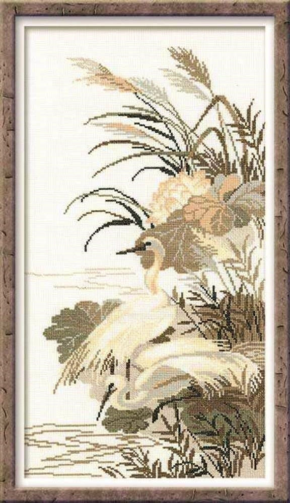 Cross Stitch Kit Herons, Oriental Counted Cross Stitch Kit R928
