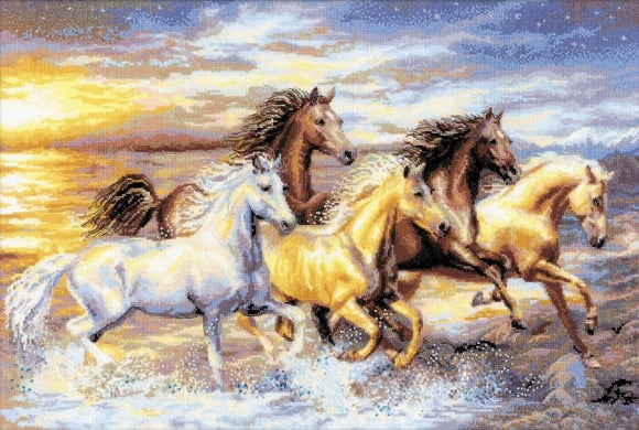 Horses in the Sunset Counted Cross Stitch Kit, Riolis R100/038