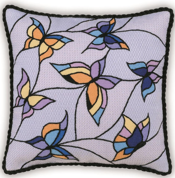 Needlepoint Butterflies, OUTLINE PRINTED Needlepoint Kit Riolis R1625