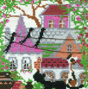 Cross Stitch Kit City Cats Summer, Counted Cross Stitch Kit Riolis R612