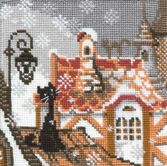 Cross Stitch Kit City Cats Winter, Counted Cross Stitch Kit Riolis R610