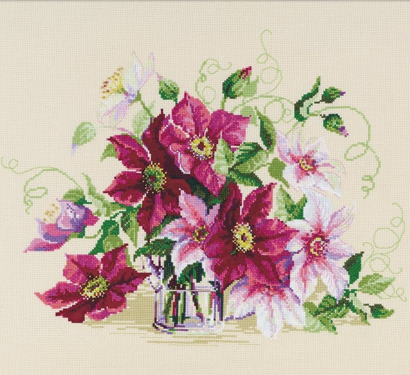 Cross Stitch Kit Clematis, Counted Cross Stitch Riolis R100/040