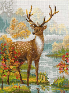 Cross Stitch Kit Deer Stag, Counted Cross Stitch Kit Riolis R1077