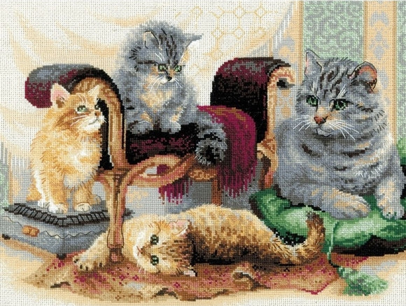 Cross Stitch Kit Feline Family, Cat Counted Cross Stitch Kit Riolis R1327