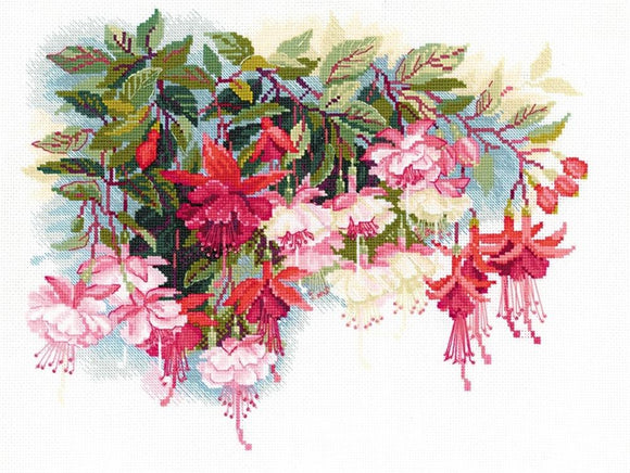 Cross Stitch Kit Fuschias, Counted Cross Stitch Riolis R1398