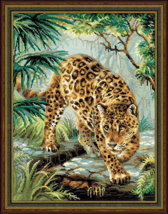Cross Stitch Kit Jungle Leopard, Counted Cross Stitch Kit Riolis R1549