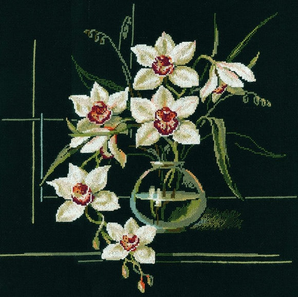 Cross Stitch Kit White Orchids, Counted Cross Stitch Riolis R941