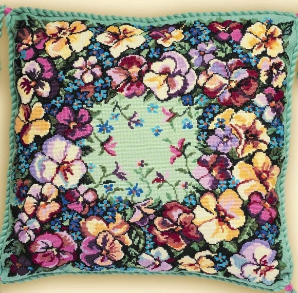 Cross Stitch Kit Pansy Cushion, Counted Cross Stitch Kit Riolis R1234