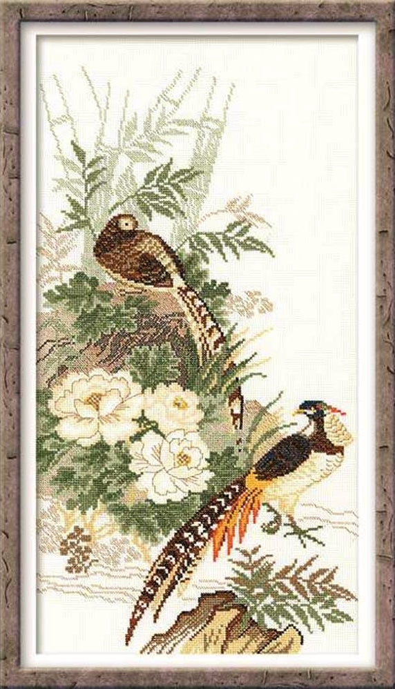 Cross Stitch Kit Pheasants, Oriental Counted Cross Stitch Kit R929