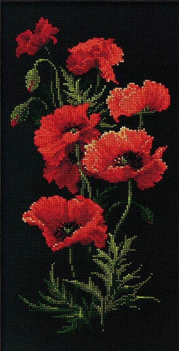 Poppies Cross Stitch Kit, Riolis R1057