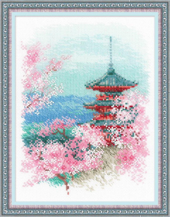 Sakura Pagoda, Riolis Oriental Counted Cross Stitch Kit R1743
