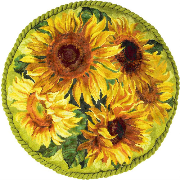 Cross Stitch Kit Sunflower Cushion, Counted Cross Stitch Riolis R1530