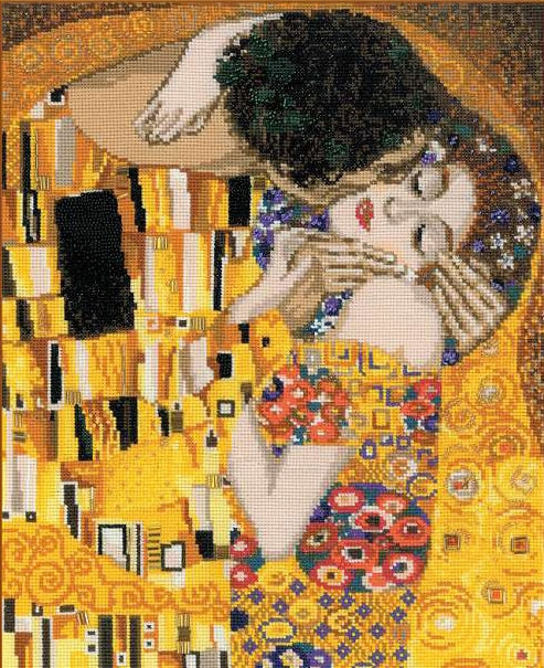 Klimt The Kiss, Gustav Klimt Cross Stitch Kit, Riolis R1170