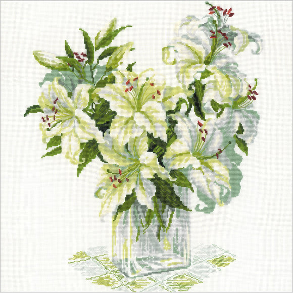 Cross Stitch Kit White Lilies, Counted Cross Stitch Riolis R1169