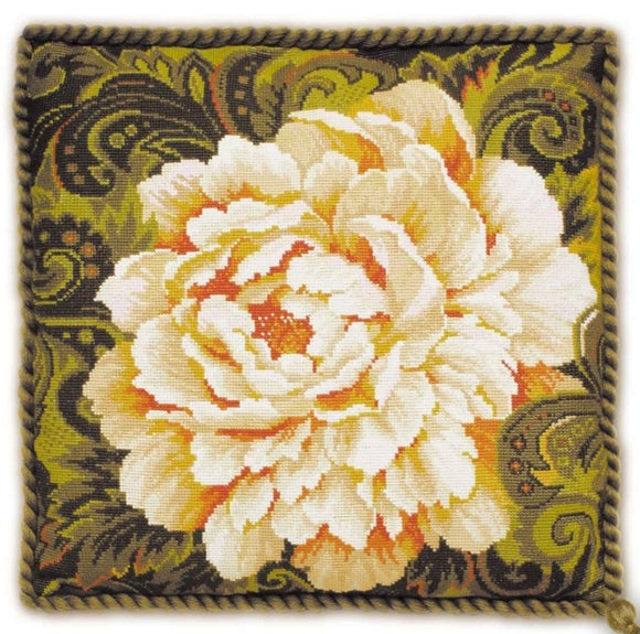 Cross Stitch Kit White Peony, Counted Cross Stitch Kit Riolis R1101
