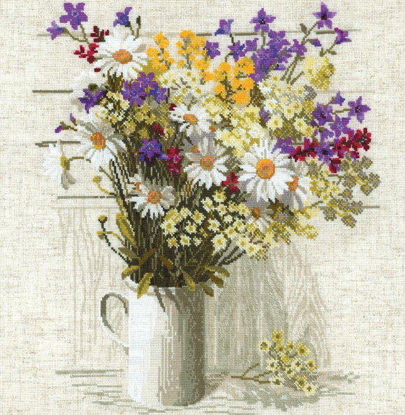 Cross Stitch Kit Wildflowers, Counted Cross Stitch Riolis R924