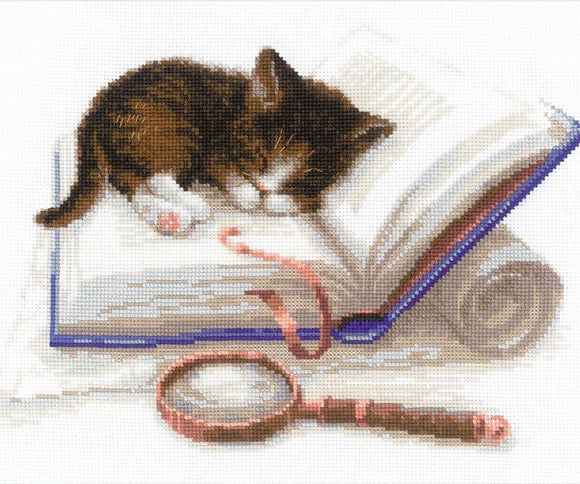Cross Stitch Kit Kitten on a Book, Counted Cross Stitch Riolis R1725