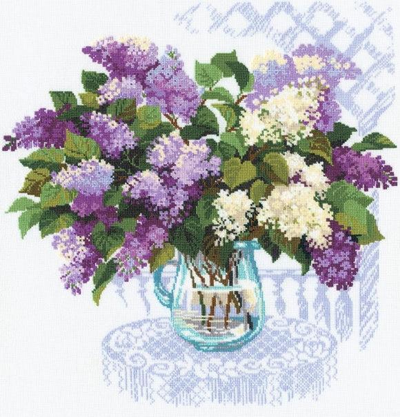 Cross Stitch Kit Lilac Bouquet, Counted Cross Stitch Riolis R900