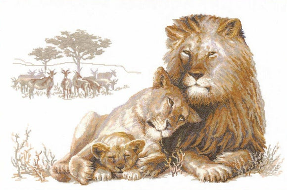 Cross Stitch Kit Full Lion Paradise, Counted Cross Stitch Riolis R100.013