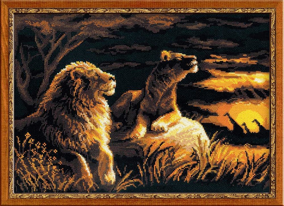 Lions in the Savannah Cross Stitch Kit, Riolis R1142