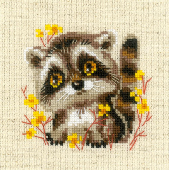 Cross Stitch Kit Little Racoon, Counted Cross Stitch Riolis R1754