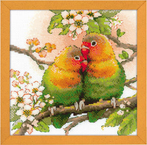 Cross Stitch Kit Lovebirds, Counted Cross Stitch Kit Riolis R1780