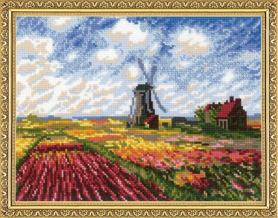Monet Tulip Fields Cross Stitch Kit Riolis R1643