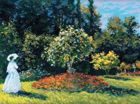Monet Woman in a Garden, Cross Stitch Kit, Riolis R1255