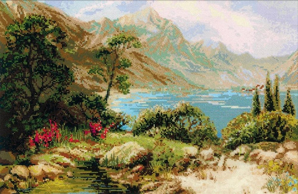 Mountain Lake Landscape Cross Stitch Kit, Riolis R1397