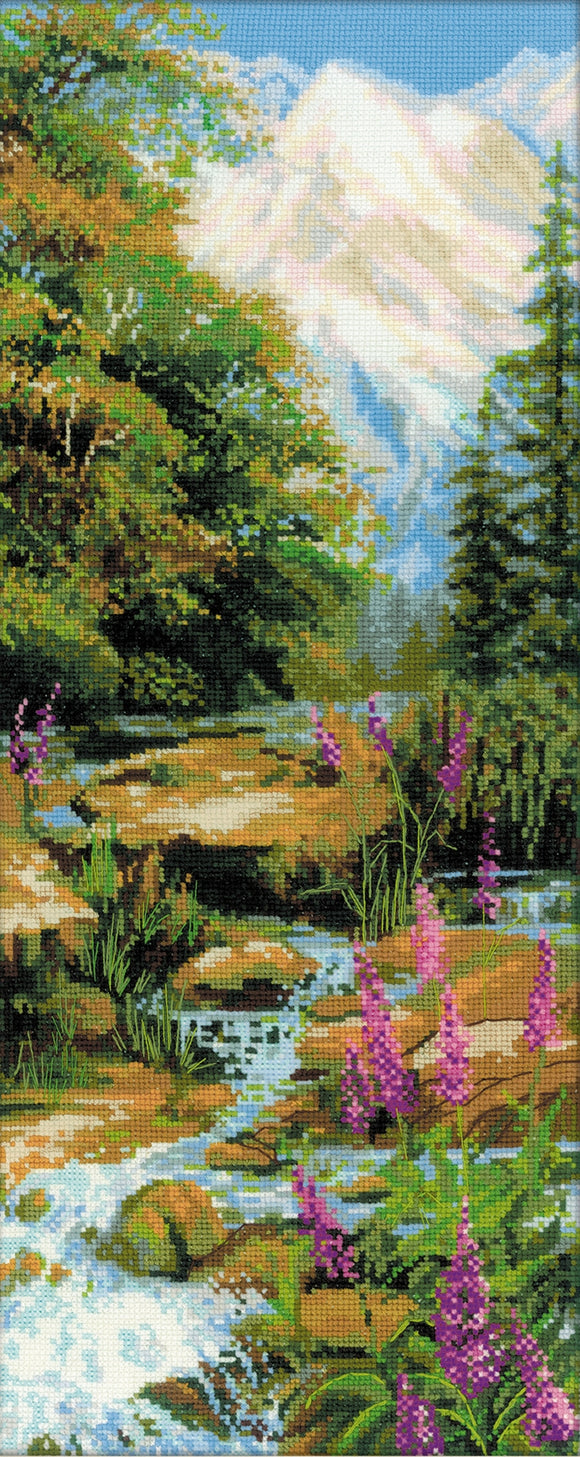 Mountain River Landscape, Counted Cross Stitch Kit R1487