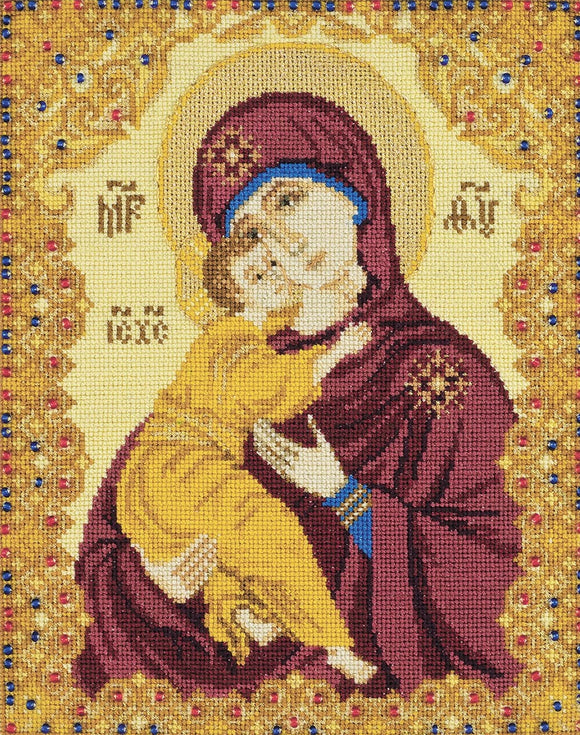Cross Stitch Kit Our Lady of Vladimir, Counted Cross Stitch Riolis R1300
