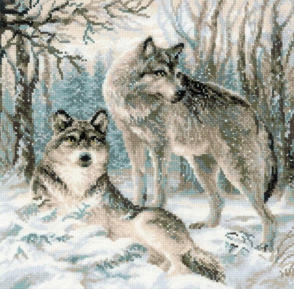 Cross Stitch Kit Pair of Wolves, Counted Cross Stitch Riolis R1393