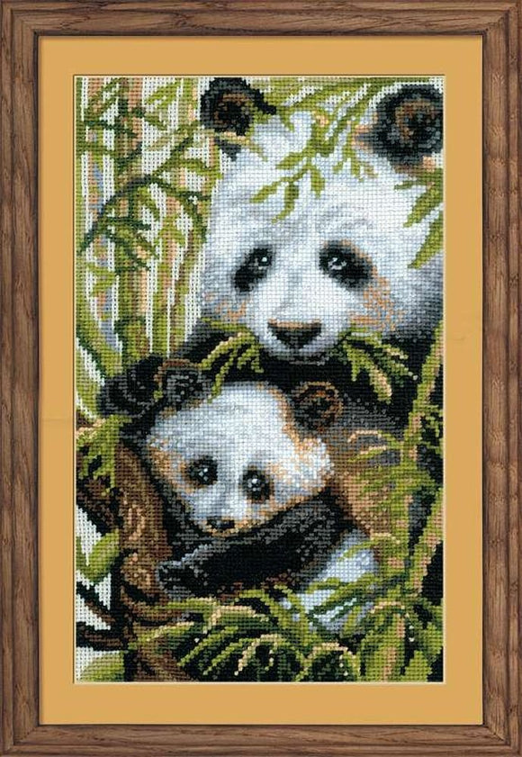 Panda with Young Cross Stitch Kit Riolis R1159