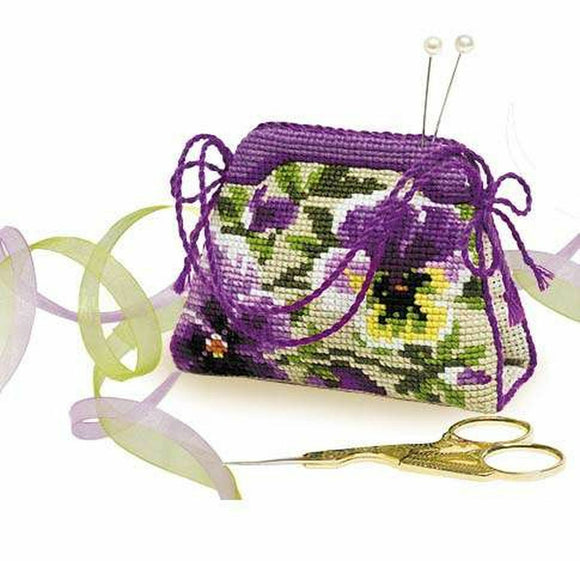 Cross Stitch Kit Pansies Pin Cushion/Needle Minder, Riolis R1039