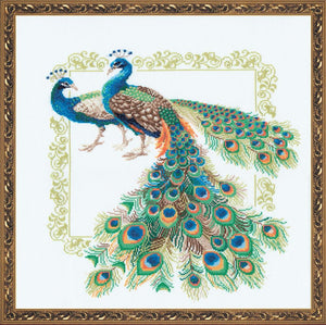 Cross Stitch Kit Peacocks, Counted Cross Stitch Kit Riolis R767