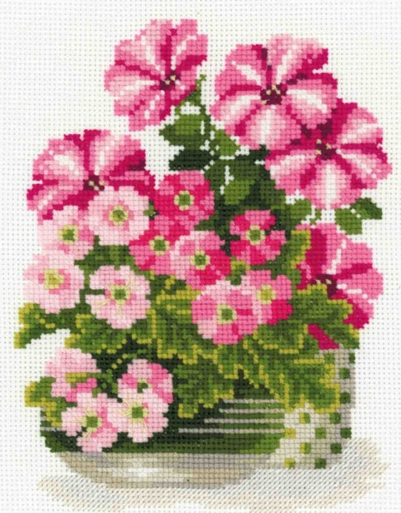Petunias and Primroses, Counted Cross Stitch Kit Riolis R1115