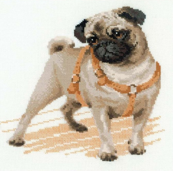 Cross Stitch Kit Pug Dog, Counted Cross Stitch Kit Riolis R1176