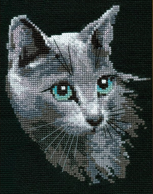Cross Stitch Kit Russian Blue Cat, Counted Cross Stitch Kit Riolis R764