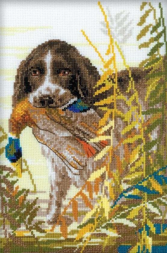 Cross Stitch Kit Spaniel Hunting, Counted Cross Stitch Kit Riolis R1151