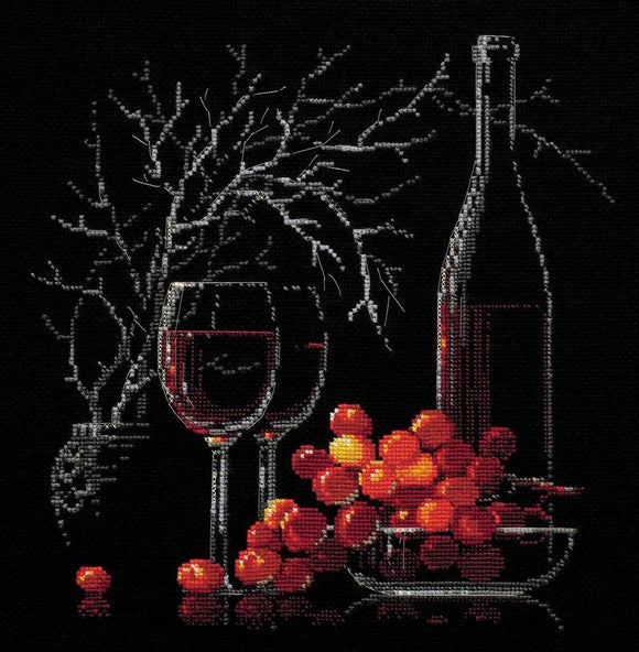 Still Life Red Wine Cross Stitch Kit, Riolis R1239