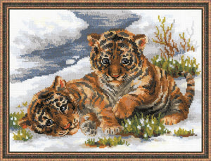 Cross Stitch Kit Tiger Cubs in the Snow, Counted Cross Stitch Kit R1144