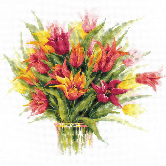 Cross Stitch Kit Tulips in a Vase, Counted Cross Stitch Riolis R1293