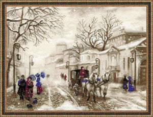 Cross Stitch Kit Street Scene, Counted Cross Stitch Kit Riolis R1400