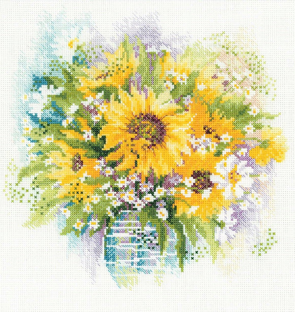 Watercolour Sunflowers, Counted Cross Stitch Riolis R100/007